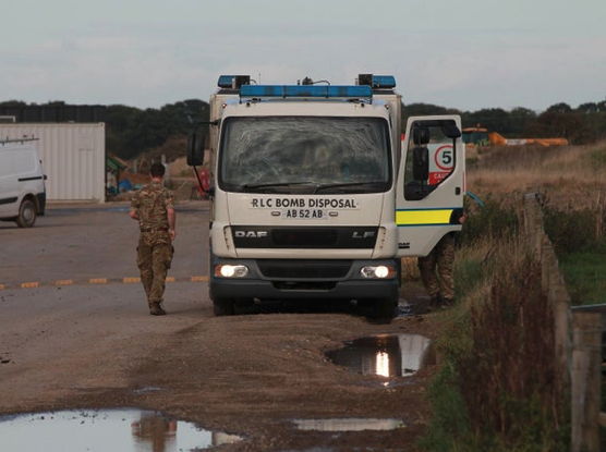 Unexploded Ordnance (UXO) found at wind farm near Howden, East Yorkshire