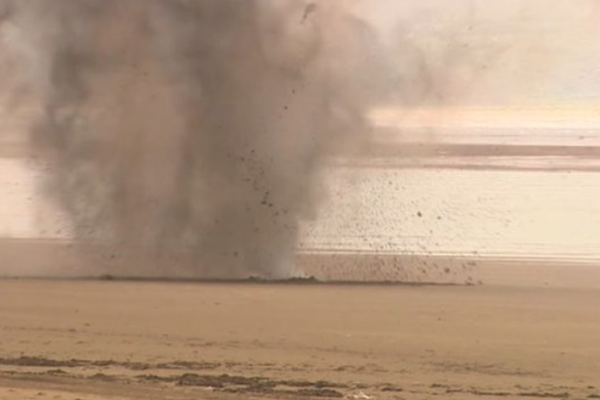May 2016: EOD team carry out a controlled explosion on beach